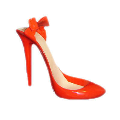 red stiletto fashion shoe for wine holder