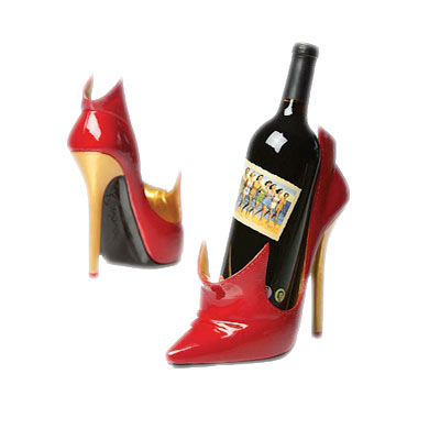Red High Heel Shoe Wine Bottle Holder