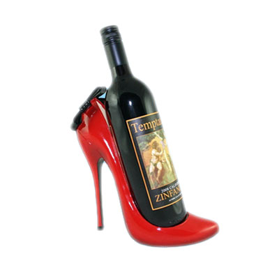 Fashion red stiletto shoe wine bottle display