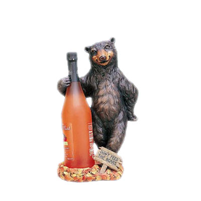 standing bear polyresin decorative wine stand