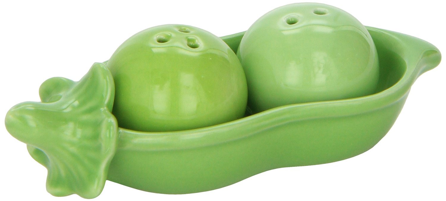 green salt and pepper shaker